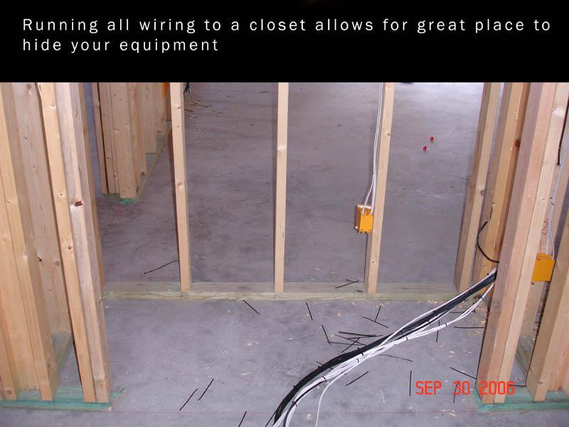Pre-wire for equipment in closet