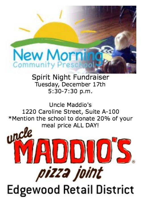 New Morning Community Preschool Spirit Night 12/17 ~ MommyTalkShow.com