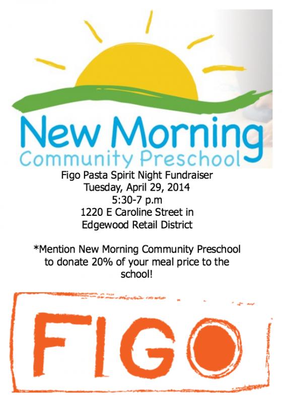 New Morning Community Preschool Spirit Night Fundraiser 4/29