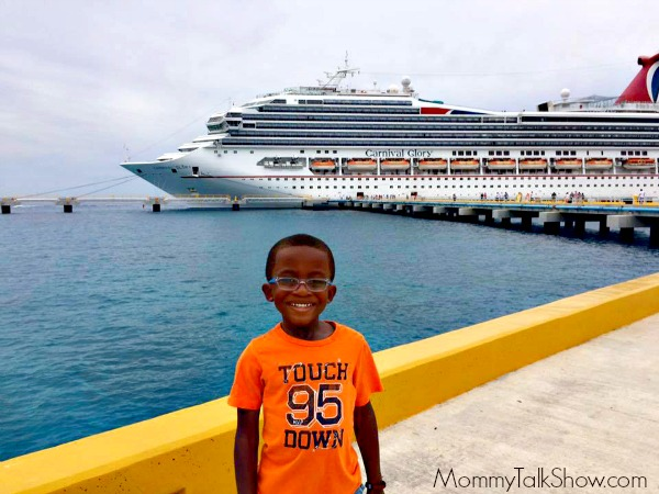 A.J. in front of Carnival Glory