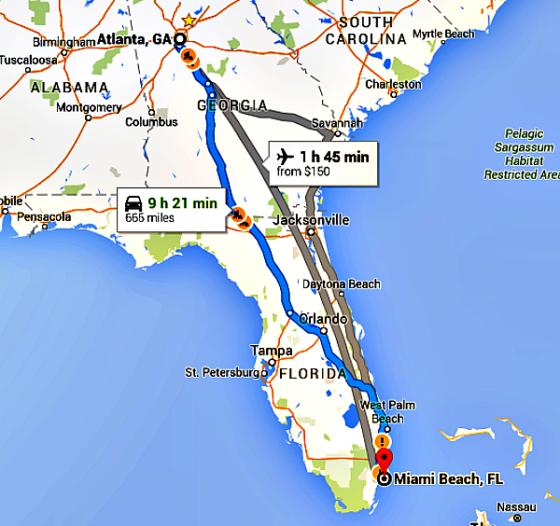 Atlanta to Miami Map