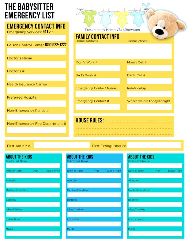 Babysitter Emergency Checklist