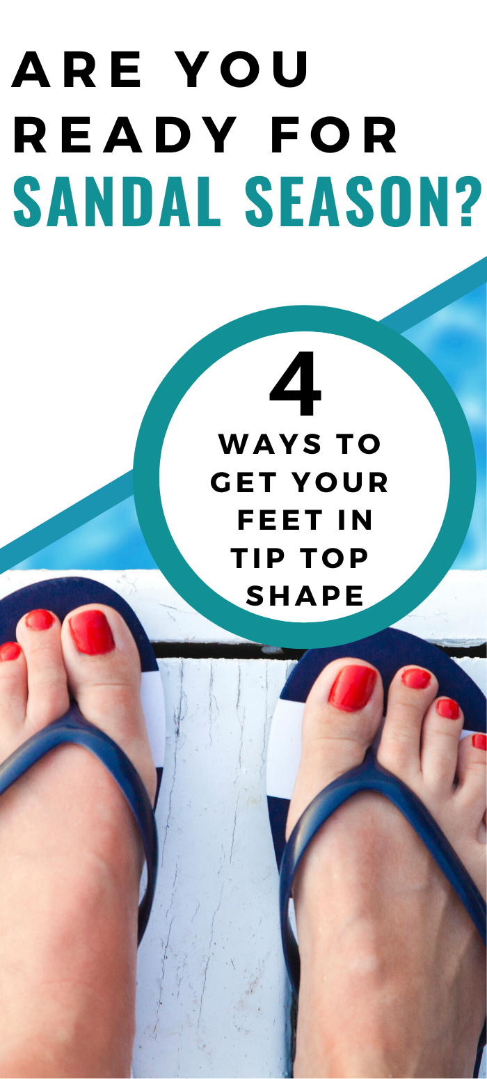 Woman's feet in blue sandals: Are you ready for sandal season? 4 Ways to get your feet in tip top shape