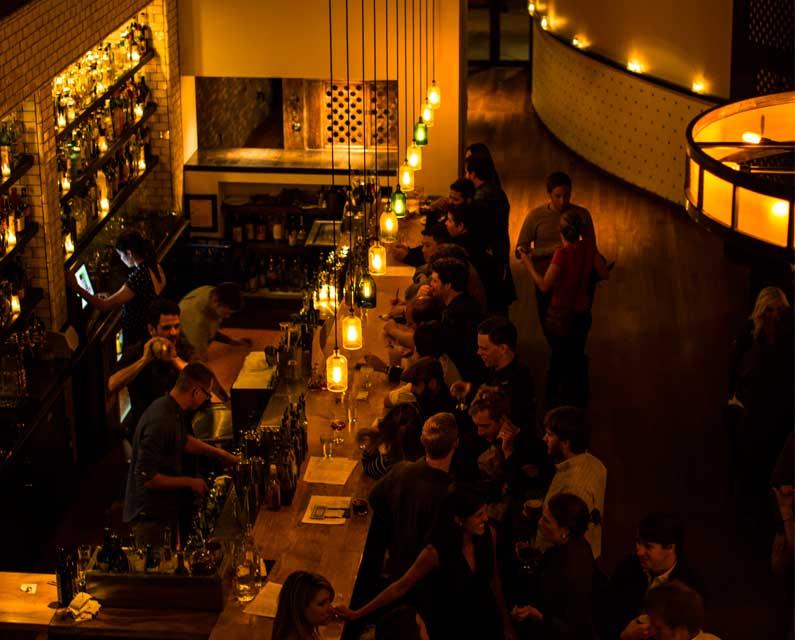 customers at the bar