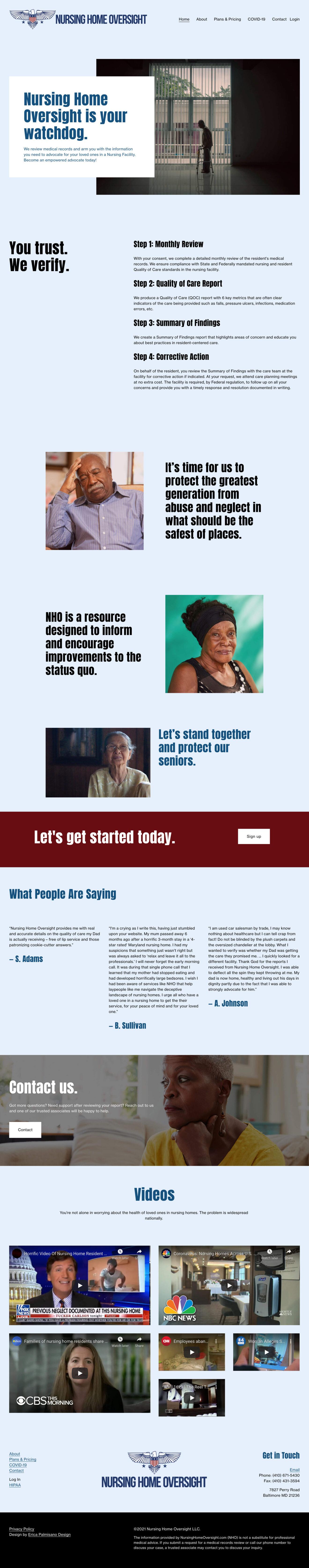 A screenshot of the homepage for nursinghomeoversight.com