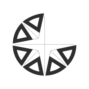 The icon version of the Global Nomad English logo, a partial compass rose, in black
