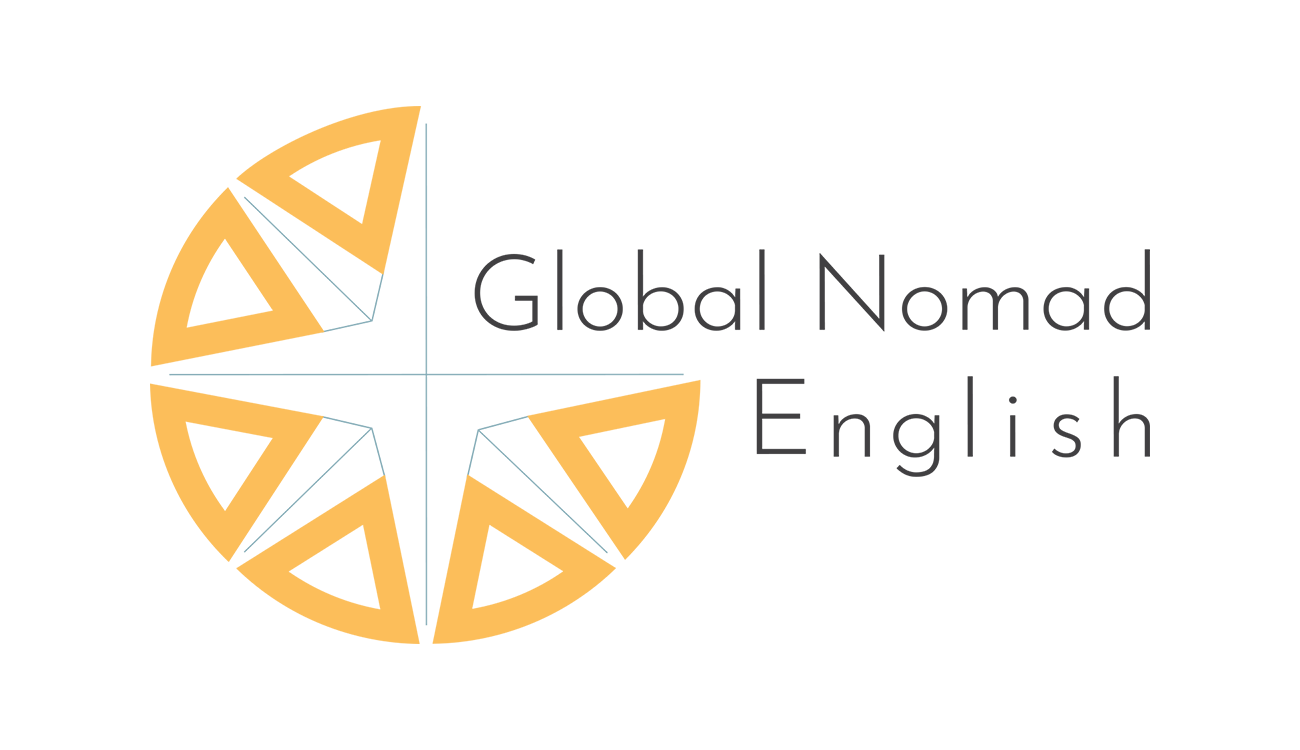 The logo of Global Nomad English with the shape of a partial compass rose in orange and teal