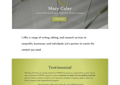Website Design for Mary Caler, Freelance Writer