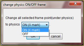 The Change Physics ON/OFF Frame selector.