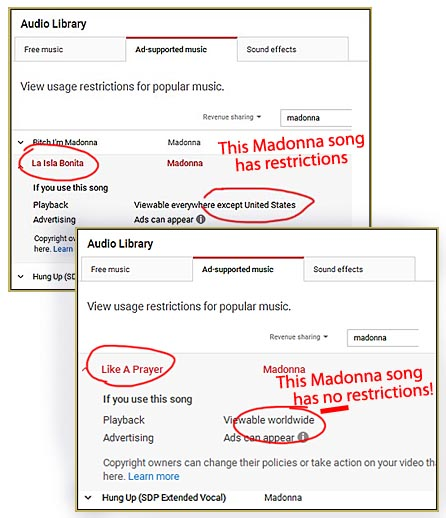 The YouTube Audio Library's Ad-supported music tab can, maybe, tell you if your video will be blocked!