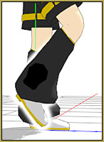 Mid-stride, lift the forward-moving foot and roll the toe down as you make a walk-in-place motion.