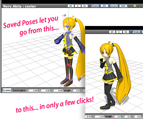 "Value of saved poses. Break the ""writer's block ice"" with about three clicks of the mouse!"
