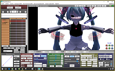 """My image of """"Corrupted Miku"""" on the GUI in MMD..."""