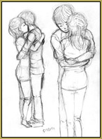 I searched Google for Animation Reference Hug Pose and found this image.