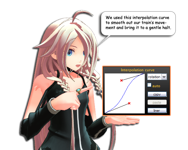 Use an interpolation curve to bring your MMD trains to a smooth stop.