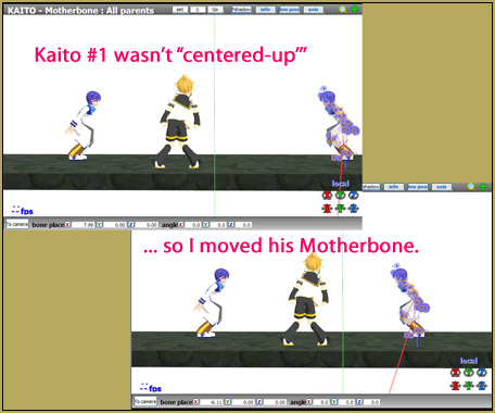 In my MMD Smooth Criminal video, I adjusted the model's position using the motherbone.