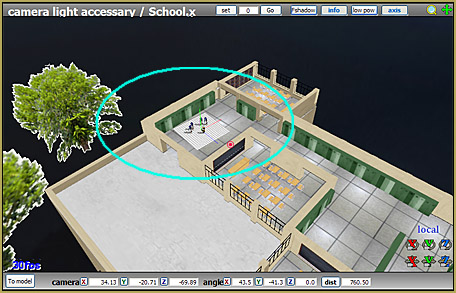 """I move the MMD Inside of School stage so as to put my """"shoot"""" right where I want it."""
