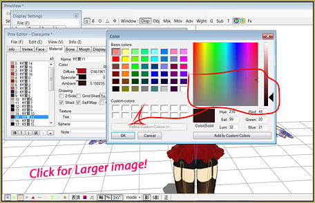 Choose a darker color for the affectd materials using PMDE.