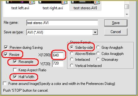 StereoMovie Maker's rendering options