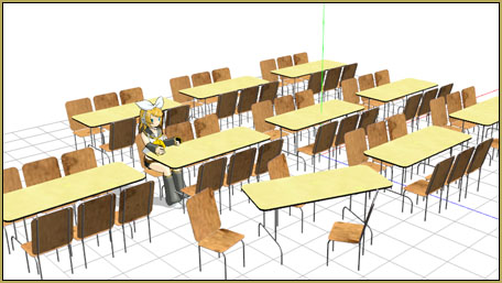 """Quickly create a cafeteria scene using a mix of """"tables and chairs"""", tables, and chairs!"""