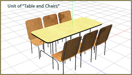 """This """"table and chairs"""" loads as a single unit."""