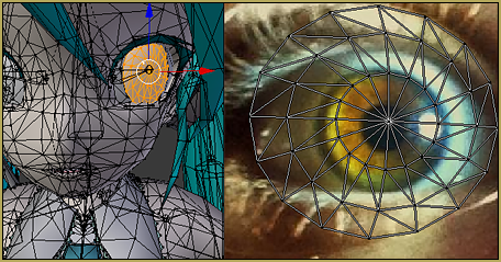 Model eye-mesh texture VS Photographic eye-mesh in Blender.Blender