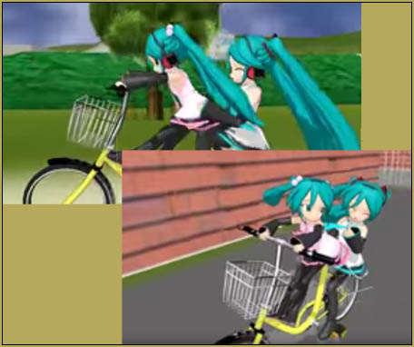 A lot of fun as the Mikus rife their bike through a huge set!