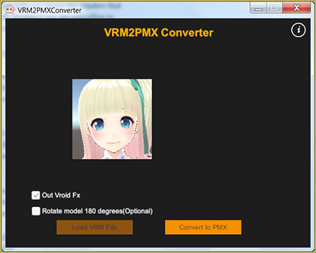 VRM2Pmx Converter Screen
