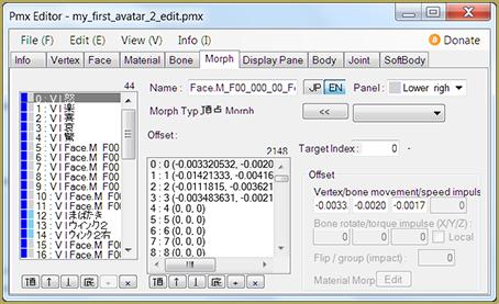 Morph / Facial Pane in PMX Editor