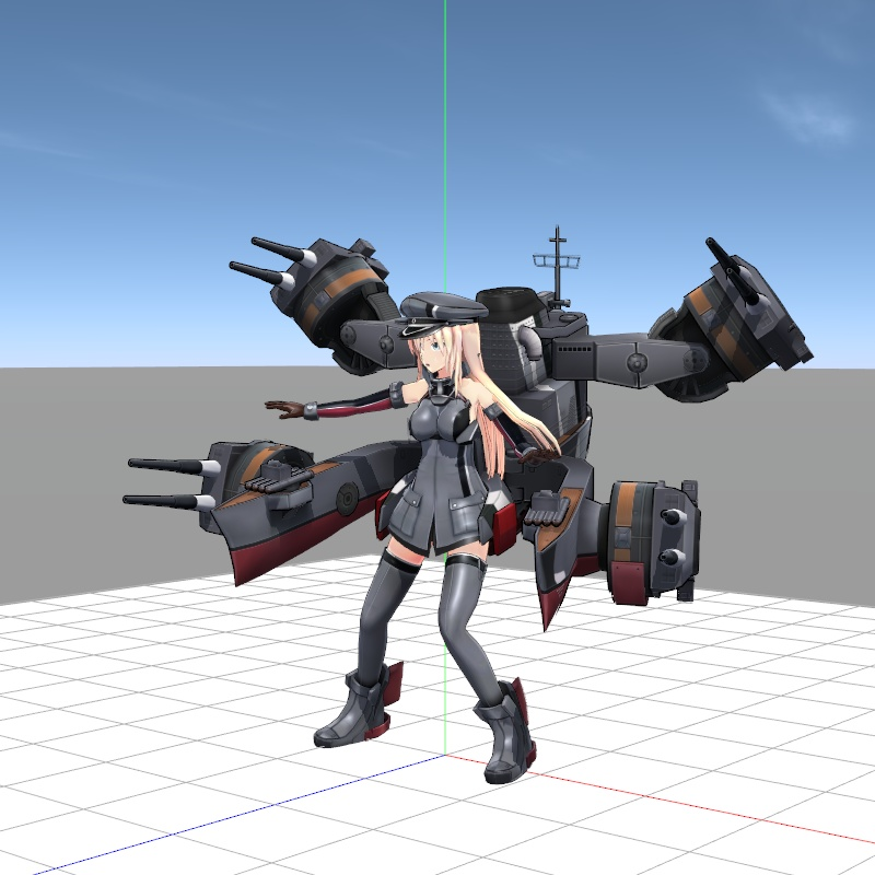 Setting-up the stage and pose of a KanColle MMD Ship model.