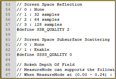 Screen Space Subsurface Scattering config as viewed in Notepad++.
