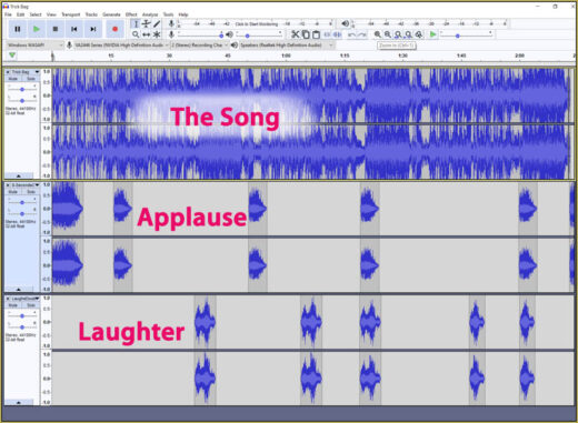 I added laughter and applause tracks using Audacity software.