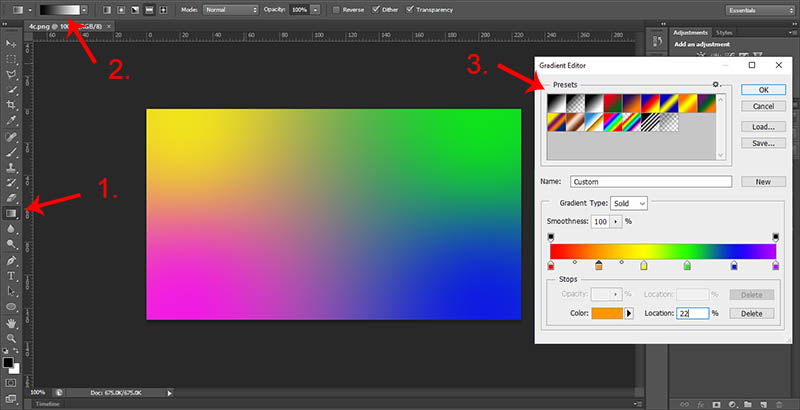 how to create a gradient in photoshop