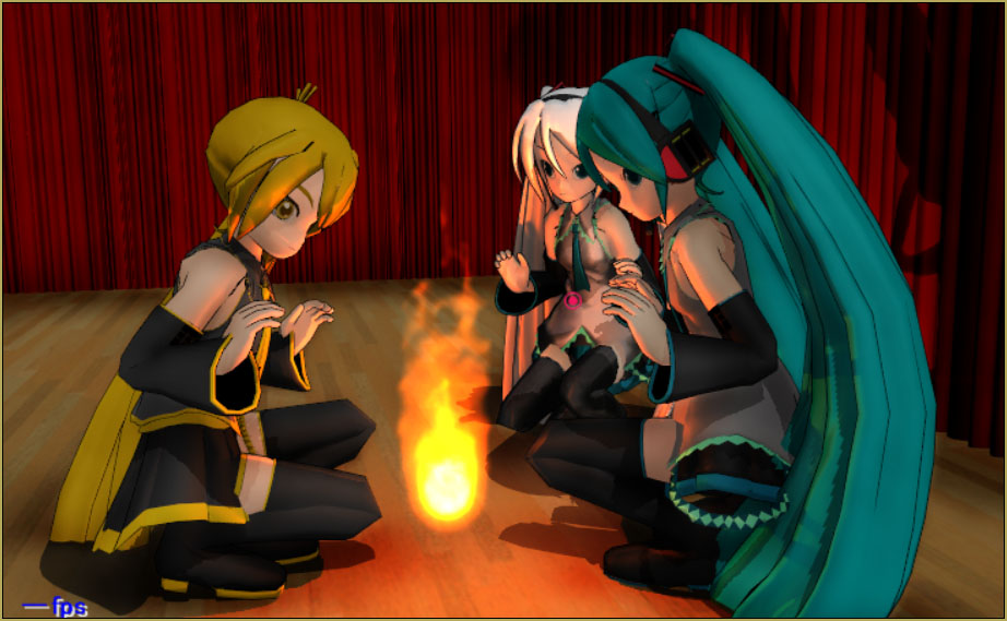 The MME TexFire Effect for MikuMikuDance provides an adjustable fire... but no light! ... Add the FireLight Effect to see the light.