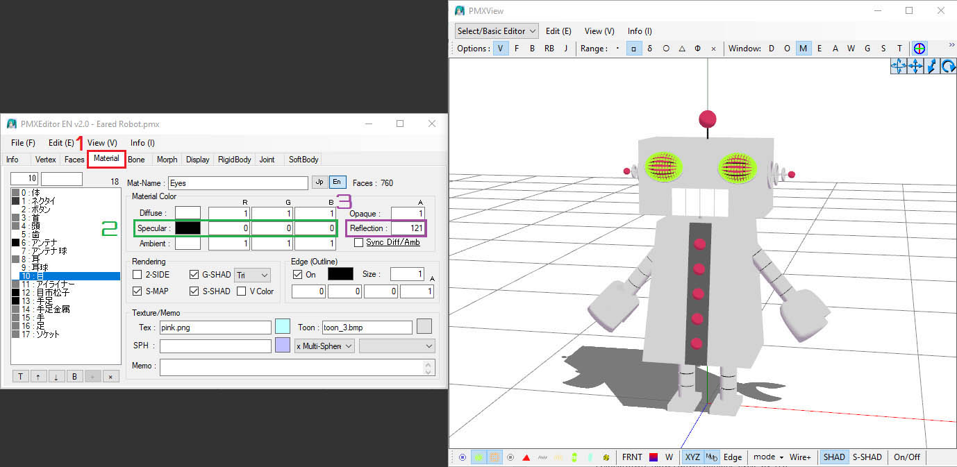 A screenshot of editing the Eared Robot's pink areas to react to AutoLuminous