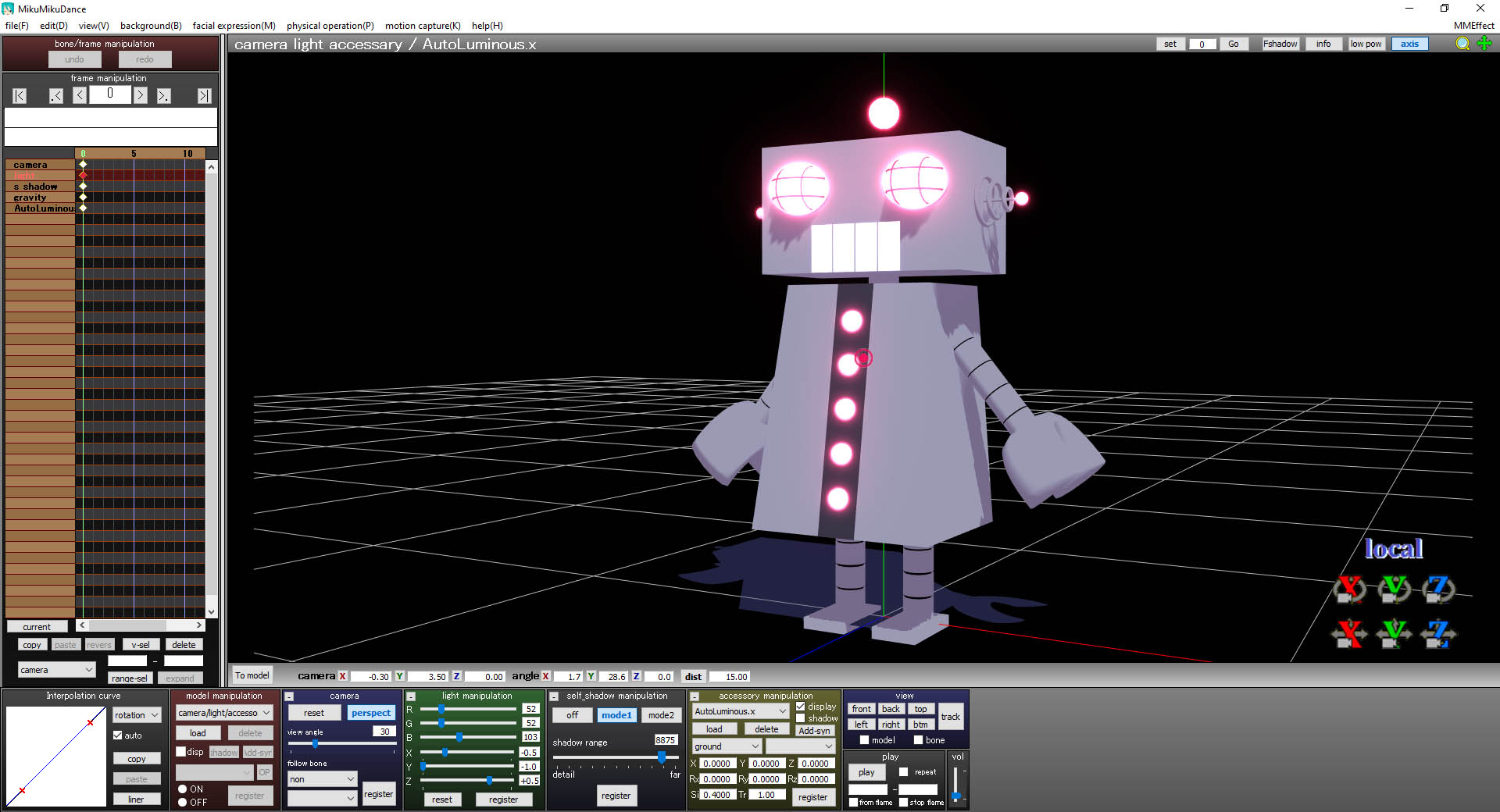 An example of AutoLuminous working with the Eared Robot in MMD
