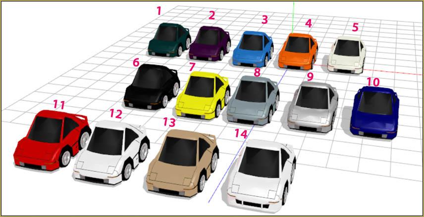 Fourteen little car models... fun stuff!