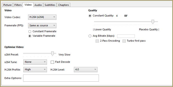 Set up HandBrake for best quality results...
