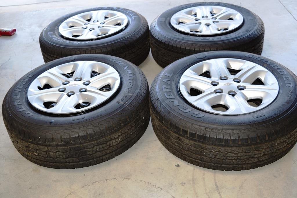 chevy traverse 17 inch oem factory steel wheels tire package. dealer take offs
