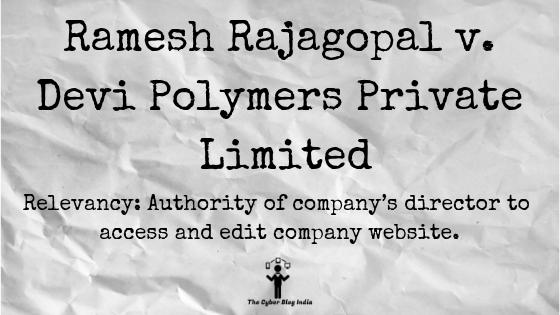 Ramesh Rajagopal v. Devi Polymers Private Limited