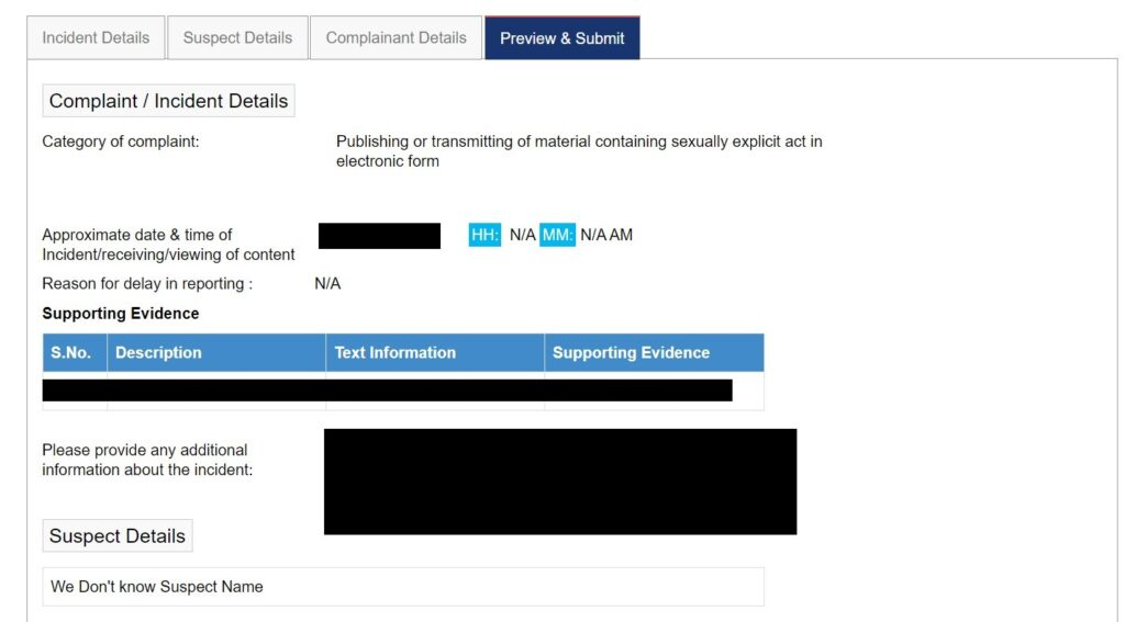 National Cyber Crime Reporting Portal - Step 8