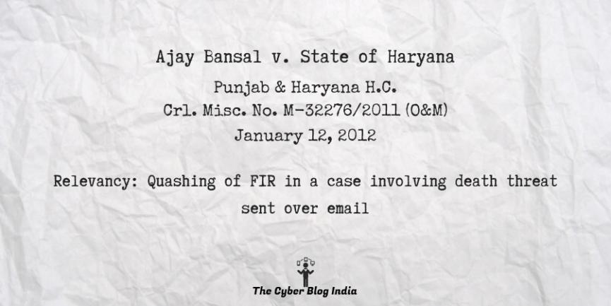 Ajay Bansal v. State of Haryana