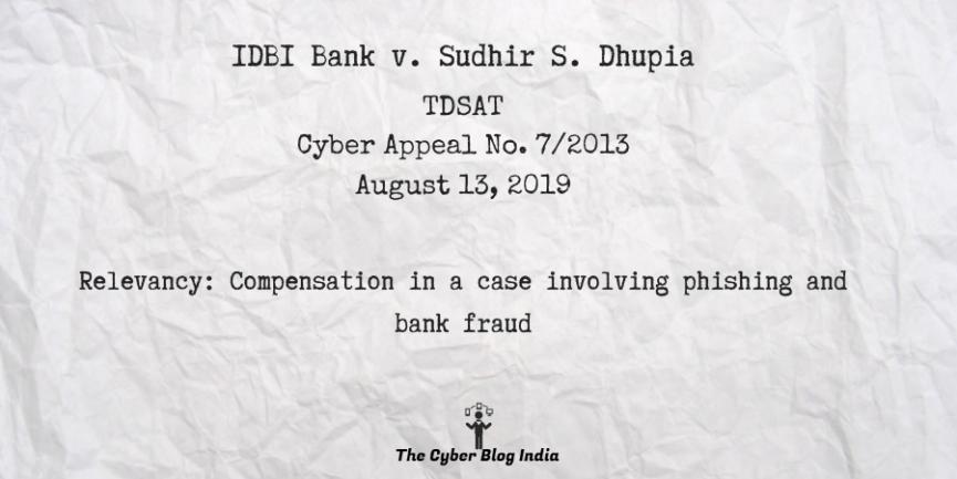 IDBI Bank v. Sudhir S. Dhupia