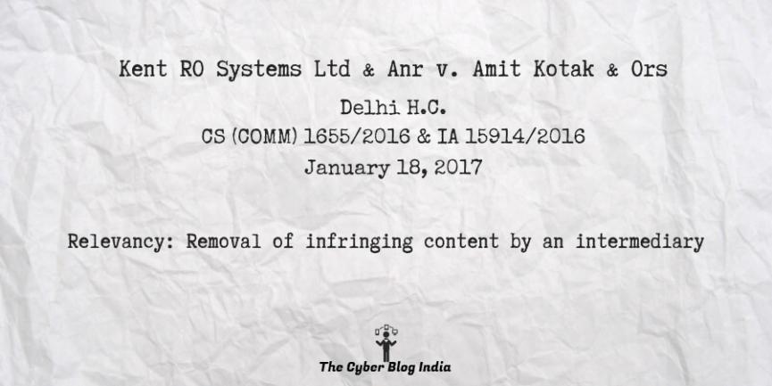 Kent RO Systems Ltd & Anr v. Amit Kotak & Ors