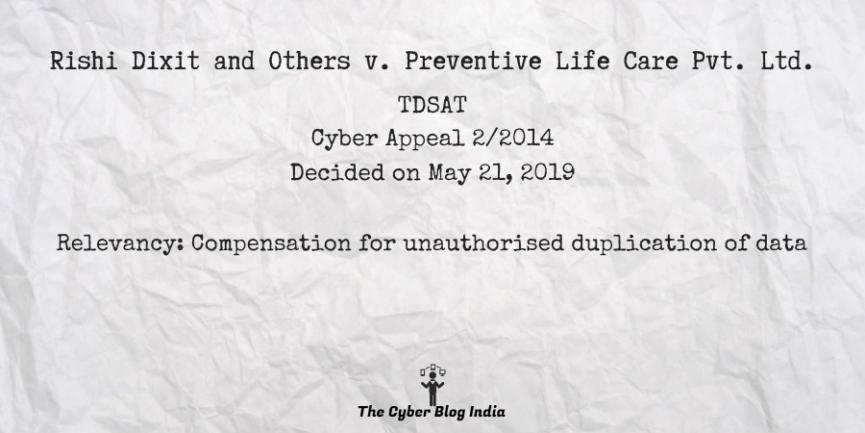 Rishi Dixit and Others v. Preventive Life Care Pvt. Ltd.