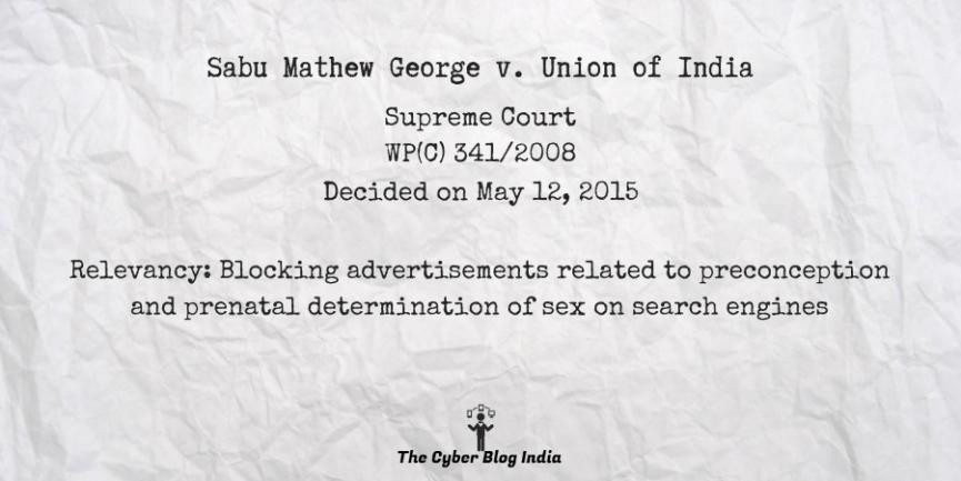 Sabu Mathew George v. Union of India