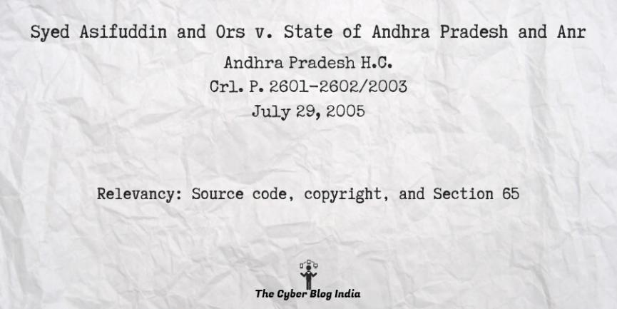 Syed Asifuddin and Ors v. State of Andhra Pradesh and Anr