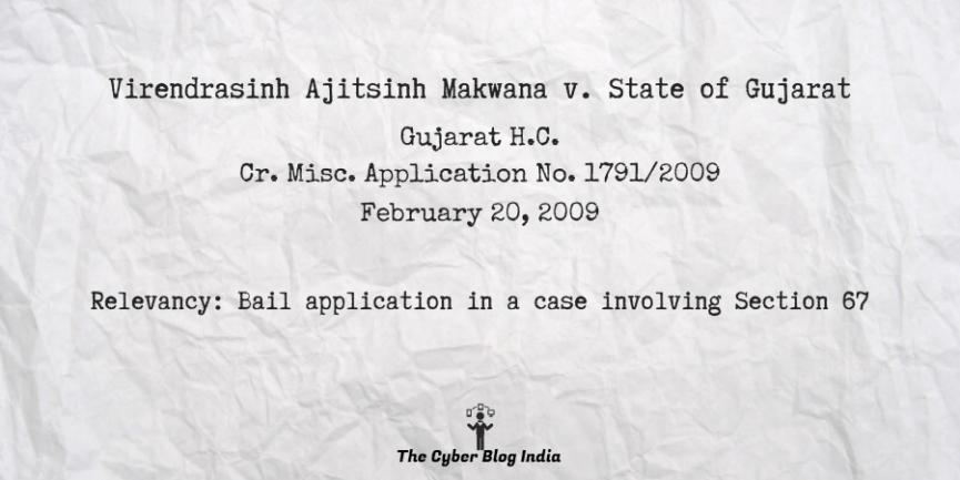 Virendrasinh Ajitsinh Makwana v. State of Gujarat