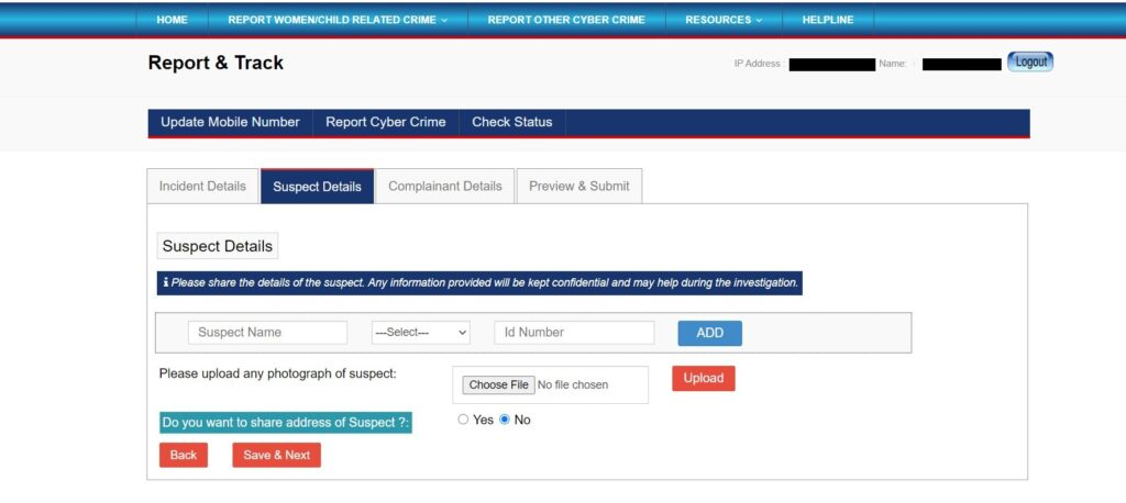 National Cyber Crime Reporting Portal - Step 6