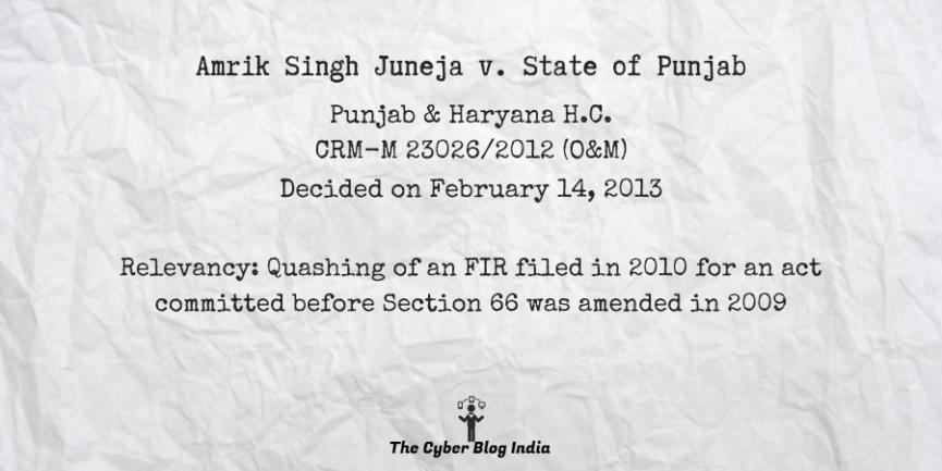 Amrik Singh Juneja v. State of Punjab